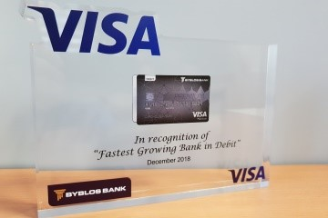"Byblos Bank Awarded The ""Fastest Growing Debit Cards Portfolio In 2018"" By Visa"